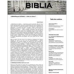 Sylvie Parizet : «Bibliothèques de Babel»: ordre ou chaos?