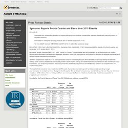 Symantec Reports Fourth Quarter and Fiscal Year 2015 Results