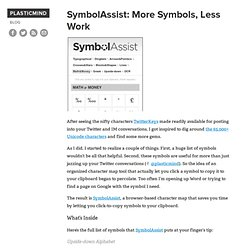 SymbolAssist: More Symbols, Less Work // Plasticmind Blog - StumbleUpon
