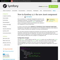 New in Symfony 2.7: the new Asset component