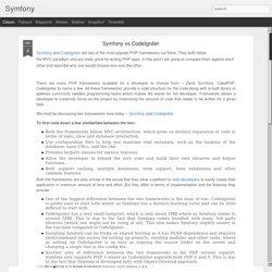 Symfony: Symfony vs CodeIgniter