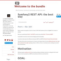 Symfony2 REST API: the best way