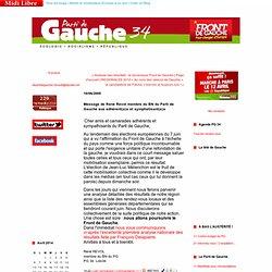 Message de René Revol membre du BN du Parti de Gauche aux adhérent(e)s et symphatisant(e)s