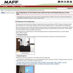 MAFF_GO_JP 13/11/14 The Symposium on Prevention and Control of Foot and Mouth Disease in East Asia