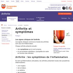 Symptômes de l'arthrite - ComprendreChoisir