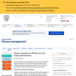 Stress symptoms: Effects on your body and behavior