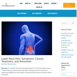 Lower Back Pain Symptoms, Causes, Treatment and Prevention
