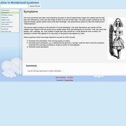 Symptoms - Alice in Wonderland Syndrome