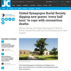 United Synagogue Burial Society digging new graves 'every half hour' to cope with coronavirus deaths
