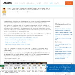 How to sync Google Calendar with Outlook 2010 and 2013