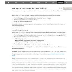 iTunes: synchronisation des contacts de votre carnet d'adresses avec vos contacts Google