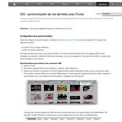 Synchronisation de votre iPad, iPhone ou iPodtouch avec iTunes