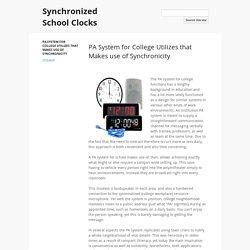 Synchronized School Clocks