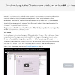 Synchronizing Active Directory user attributes with an HR database - Imanami