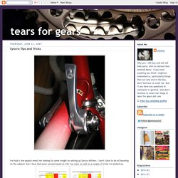 Syncro Tips and Tricks ~ tears for gears