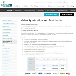 Video Syndication and Distribution