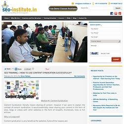 SEO Training - How to use Content Syndication successfully?