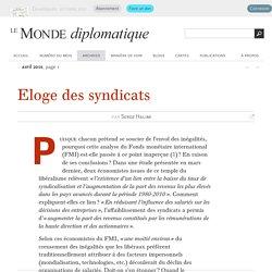 Eloge des syndicats, par Serge Halimi (Le Monde diplomatique, avril 2015)