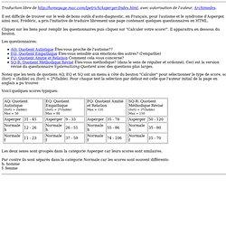 Tests en ligne pour le syndrome d'asperger et l'autisme