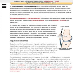 Rotule - Syndrome rotulien et tendinite du genou
