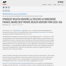 SYNERGIST WEALTH ADVISORS LLC RECEIVES AI WORLDWIDE FINANCE AWARD: BEST PRIVATE WEALTH ADVISORY FIRM 2020- USA