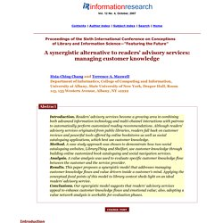 A Synergistic Alternative to Readers' Advisory Services: Managing Customer Knowledge