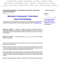 "Synergistic Kinesiology - ""Wernicke's Commands"" in the Brain Cause Self Sabotage - Synergistic Kinesiology"