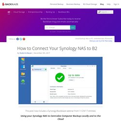Synology Cloud Backup - How to Backup Your NAS to the Cloud