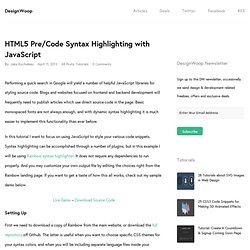 HTML5 Pre/Code Syntax Highlighting with JavaScript