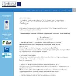 Synthèse du colloque Citoyennage 2016 en Bretagne