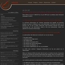 Synthèse de la Loi en la Confiance en l'Economie Numérique - Adaltas