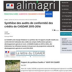 MAA CGAAER 29/11/17 Synthèse des audits de conformité des crédits du CASDAR 2015-2016