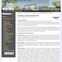 Synthèse Conseils Sciences Po - Lycée Joliot Curie - Nanterre