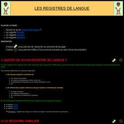 Fiche de synthèse: Registres de langue
