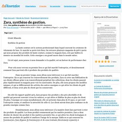 Zara, synthèse de gestion. - Fiche - Nour El Jannah