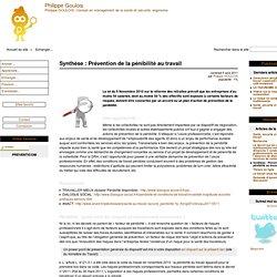 Synthèse : Prévention de la pénibilité au travail - Mon bloc note