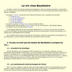 Synthèse à propos du vin chez Baudelaire