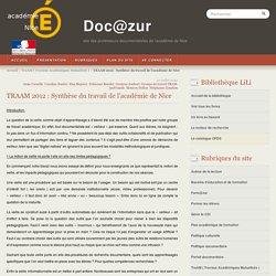 TRAAM 2012 : Synthèse du travail de l'académie de Nice