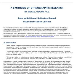 Genzuk: A Synthesis of Ethnographic Research