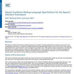 Speech Synthesis Markup Language Specification