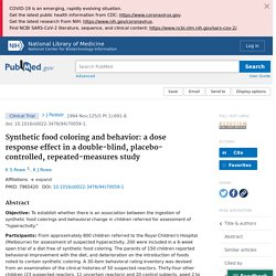 Synthetic food coloring and behavior: a dose response effect in a double-blind, placebo-controlled, repeated-measures study - PubMed
