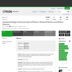 Synthetic Biology and Conservation of Nature: Wicked Problems and Wicked Solutions