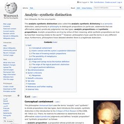 Analytic–synthetic distinction - Wikipedia