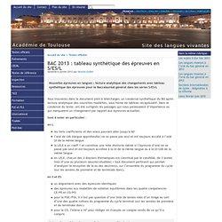 BAC 2013 : tableau synthétique des épreuves en S/ES/L - [Site des langues vivantes de l'Académie de Toulouse]