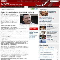 Syria PM Riad Hijab 'defects' to Jordan