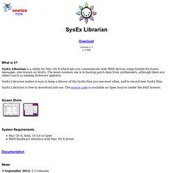 s n o i z e : SysEx Librarian