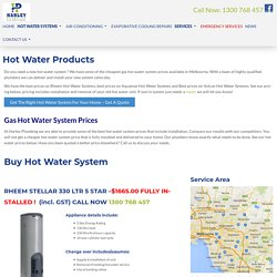 Hot Water System Prices, Rheem, Aquamax, Vulcan Hot water installations