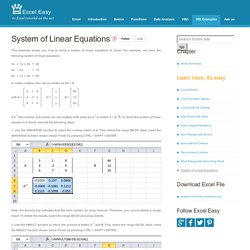 Solve a System of Linear Equations in Excel