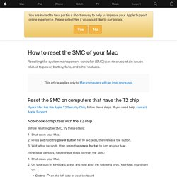 Reset the System Management Controller (SMC) on your Mac