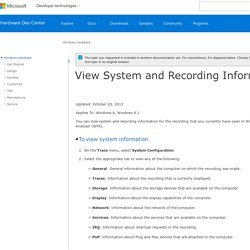 View System and Recording Information